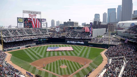 <p>               FILE - In this June 30, 2013 file photo, members of the Armed Forces hold a large flag at Target field in Minneapolis where the Minnesota Twins hosted Armed Forces Appreciation Day prior to the baseball game between the Twins and the Kansas City Royals. The 2021 NHL Winter Classic will be hosted by the Minnesota Wild at Target Field, the home stadium of the MLB's Twins. NHL officials announced the site for next Winter Classic during this season's game Wednesday, Jan. 1, 2020 at Cotton Bowl Stadium in Dallas. (AP Photo/Jim Mone, File)             </p>