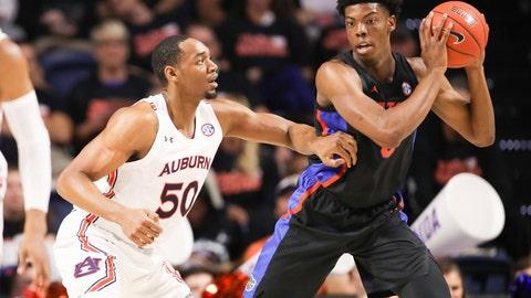 <p>               Auburn center Austin Wiley (50) guards Florida forward Omar Payne (5) during the first half of an NCAA college basketball game Saturday, Jan. 18, 2020, in Gainesville, Fla. (AP Photo/Matt Stamey)             </p>