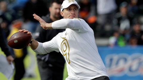 <p>               NFC quarterback Drew Brees, of the New Orleans Saints, throws a pass during a practice for the NFL Pro Bowl football game Wednesday, Jan. 22, 2020, in Kissimmee, Fla. (AP Photo/Chris O'Meara)             </p>