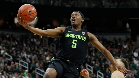 <p>               Michigan State guard Cassius Winston (5) makes a layup during the second half of an NCAA college basketball game against Wisconsin, Friday, Jan. 17, 2020, in East Lansing, Mich. (AP Photo/Carlos Osorio)             </p>