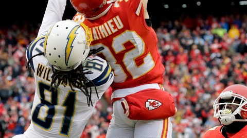<p>               Kansas City Chiefs safety Tyrann Mathieu (32) intercepts a pass intended for Los Angeles Chargers wide receiver Mike Williams (81), as cornerback Rashad Fenton (27) watches, during the first half of an NFL football game in Kansas City, Mo., Sunday, Dec. 29, 2019. (AP Photo/Charlie Riedel)             </p>