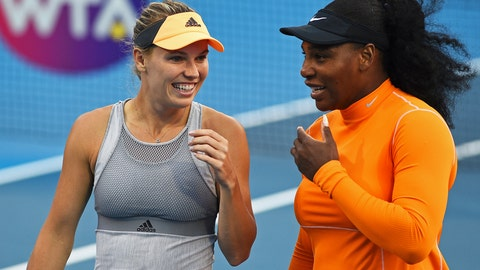 <p>               Denmark's Caroline Wozniacki, left, and Untied States' Serena Williams talk during their first round doubles match against Japan's Nao Hibino and Makoto Ninomiya at the ASB Classic in Auckland, New Zealand, Monday, Jan 6, 2020. (Chris Symes/Photosport via AP)             </p>