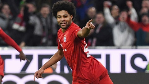 <p>               Bayern's Serge Gnabry reacts after scoring, during the Germany Bundesliga soccer match between Bayern Munich and VfL Wolfsburg at the Allianz Arena in Munich, Germany, Saturday, Dec. 21, 2019. (Angelika Warmuth/dpa via AP)             </p>