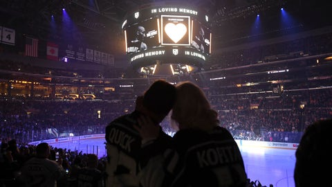 <p>               Fans watch a video tribute to Kobe Bryant on the scoreboard before the Los Angeles Kings play the Tampa Bay Lightning in an NHL hockey game, Wednesday, Jan. 29, 2020, in Los Angeles. (AP Photo/Michael Owen Baker)             </p>