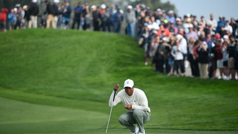 <p>               Tiger Woods lines up a putt on the second hole of the South Course at Torrey Pines Golf Course during the second round of the Farmers Insurance golf tournament Friday Jan. 24, 2020, in San Diego. (AP Photo/Denis Poroy)             </p>