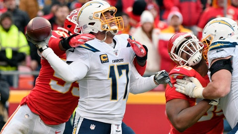 <p>               Los Angeles Chargers quarterback Philip Rivers (17) throws under pressure from Kansas City Chiefs defensive end Frank Clark (55) during the second half of an NFL football game in Kansas City, Mo., Sunday, Dec. 29, 2019. (AP Photo/Ed Zurga)             </p>