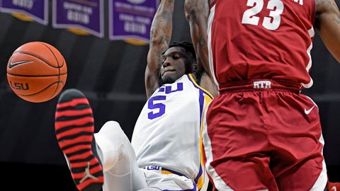 <p>               LSU forward Emmitt Williams (5) dunks the ball as Alabama guard John Petty Jr. (23) defends in the first half of an NCAA college basketball game, Wednesday, Jan. 29, 2020, in Baton Rouge, La. (AP Photo/Bill Feig)             </p>