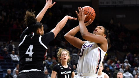 <p>               Connecticut's Megan Walker, right, shoots over Cincinnati's Angel Rizor in the first half of an NCAA college basketball game, Thursday, Jan. 30, 2020, in Storrs, Conn. (AP Photo/Jessica Hill)             </p>
