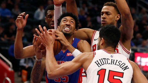 <p>               Detroit Pistons forward Christian Wood (35) is pressured by Chicago Bulls forwards Thaddeus Young, left, Daniel Gafford, back right, and forward Chandler Hutchison (15) during the first half of an NBA basketball game, Saturday, Jan. 11, 2020, in Detroit. (AP Photo/Carlos Osorio)             </p>