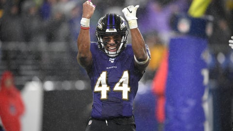 <p>               Baltimore Ravens cornerback Marlon Humphrey reacts after the Ravens scored a safety against the Pittsburgh Steelers during the second half of an NFL football game, Sunday, Dec. 29, 2019, in Baltimore. The Ravens won 28-10. (AP Photo/Nick Wass)             </p>