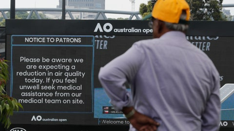 <p>               A spectator reads a sign warning of air quality ahead of the Australian Open tennis championship in Melbourne, Australia, Saturday, Jan. 18, 2020. (AP Photo/Lee Jin-man)             </p>