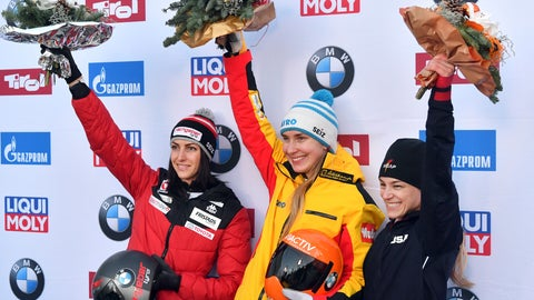 <p>               Germany's winner Jacqueline Loelling, center, Austria's second placed Janine Flock, left, and third placed United States's Megan Henry pose for media after the women's Skeleton World Cup race in Igls, near Innsbruck, Austria, Friday, Jan. 17, 2020. (AP Photo/Kerstin Joensson)             </p>