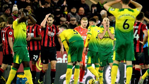 <p>               Norwich City's Teemu Pukki, right, reacts after match referee Paul Tierney changes Ben Godfrey's card from yellow to red after consulting the pitch side monitor during the English Premier League soccer match between Norwich City and Bournemouth at the Carrow Road Stadium, Norwich, England. Saturday, Jan. 18, 2020.(Joe Giddens/PA via AP)             </p>