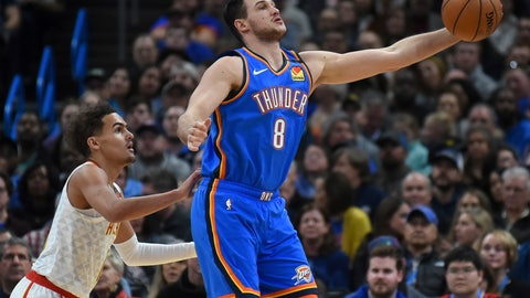 <p>               Oklahoma City Thunder forward Danilo Gallinari (8) grabs a pass in front of Atlanta Hawks guard Trae Young, left, in the first half of an NBA basketball game, Friday, Jan. 24, 2020, in Oklahoma City. (AP Photo/Kyle Phillips)             </p>