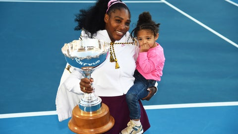 <p>               Serena Williams from the United States with daughter Alexis Olympia Ohanian Jr. and the ASB trophy after winning her singles finals match against United States Jessica Pegula at the ASB Classic in Auckland, New Zealand, Sunday, Jan 12, 2020. (Chris Symes/Photosport via AP)             </p>