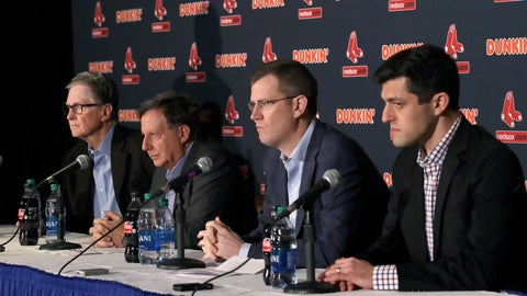 <p>               From left, Boston Red Sox owner John Henry, chairman Tom Werner, CEO Sam Kennedy and Chief Baseball Officer Chaim Bloom participate in a baseball news conference at Fenway Park, Wednesday, Jan. 15, 2020, in Boston. The Red Sox have parted ways with manager Alex Cora, with the move coming one day after baseball Commissioner Rob Manfred named him as a ringleader with Houston in the sport's sign-stealing scandal. (AP Photo/Elise Amendola)             </p>