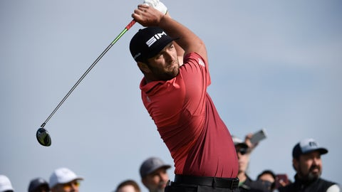 <p>               John Rahm of Spain hits his tee shot on the second hole of the South Course at Torrey Pines Golf Course during the second round of the Farmers Insurance golf tournament Friday Jan. 24, 2020, in San Diego. (AP Photo/Denis Poroy)             </p>
