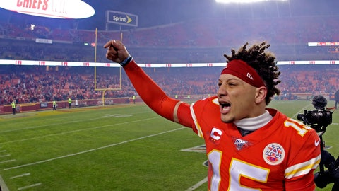 <p>               Kansas City Chiefs quarterback Patrick Mahomes celebrates as he comes off the field after an NFL divisional playoff football game against the Houston Texans, Sunday, Jan. 12, 2020, in Kansas City, Mo. (AP Photo/Charlie Riedel)             </p>