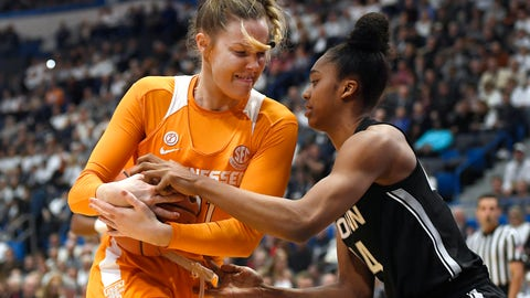 <p>               Tennessee's Lou Brown, left, and Connecticut's Aubrey Griffin fight for possession of the ball in the first half of an NCAA college basketball game, Thursday, Jan. 23, 2020, in Hartford, Conn. (AP Photo/Jessica Hill)             </p>