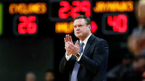 <p>               Kansas coach Bill Self applauds his team during the first half of an NCAA college basketball game against Iowa State, Wednesday, Jan. 8, 2020, in Ames, Iowa. (AP Photo/Charlie Neibergall)             </p>