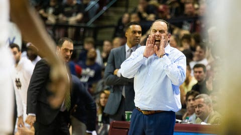<p>               Notre Dame head coach Mike Brey shouts instructions late in the second half of an NCAA college basketball game against Florida State in Tallahassee, Fla., Saturday, Jan. 25, 2020. Florida State defeated Notre Dame 85-84. (AP Photo/Mark Wallheiser)             </p>