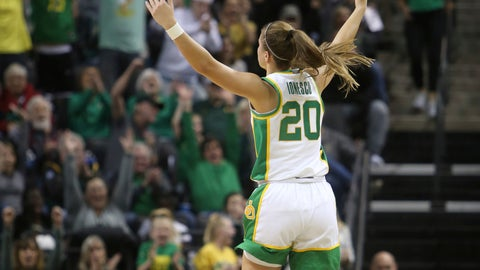<p>               Oregon's Sabrina Ionescu celebrates a three-point basket against Oregon State during the first quarter of an NCAA college basketball game in Eugene, Ore., Friday, Jan. 24, 2020. (AP Photo/Chris Pietsch)             </p>