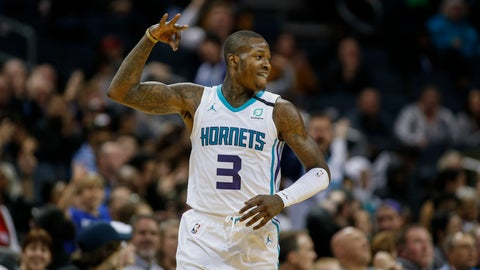 <p>               Charlotte Hornets guard Terry Rozier reacts after hitting a 3-pointer against the Toronto Raptors during the second half of an NBA basketball game in Charlotte, N.C., Wednesday, Jan. 8, 2020. Toronto won 112-110 in overtime. (AP Photo/Nell Redmond)             </p>