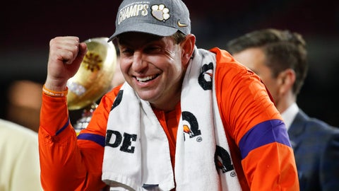 <p>               Clemson coach Dabo Swinney celebrates after Clemson defeated Ohio State 29-23 in the Fiesta Bowl NCAA college football playoff semifinal Saturday, Dec. 28, 2019, in Glendale, Ariz. (AP Photo/Ross D. Franklin)             </p>