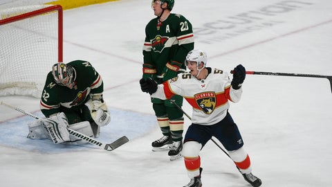 <p>               Florida Panthers right wing Noel Acciari, right, celebrates and Minnesota Wild defenseman Ryan Suter (20) and goalie Alex Stalock react after Acciari scored the game winning goal with a tip in shot with six seconds left in the third period of an NHL hockey game Monday, Jan. 20, 2020, in St. Paul, Minn. The Panthers won 5-4. (AP Photo/Craig Lassig)             </p>