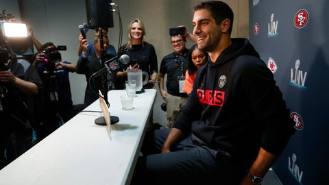 <p>               San Francisco 49ers quarterback Jimmy Garoppolo smiles as he speaks during a media availability for the NFL Super Bowl 54 football game, on Tuesday, Jan. 28, 2020, in Miami. (AP Photo/Wilfredo Lee)             </p>