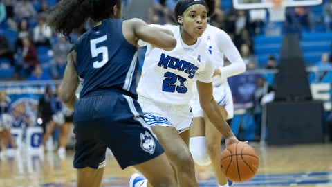 <p>               Memphis guard Jamirah Shutes (23) drives defended by Connecticut guard Christyn Williams (5) in the first half of an NCAA college basketball game Tuesday, Jan. 14, 2020, in Memphis, Tenn. (AP Photo/Nikki Boertman)             </p>