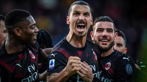 <p>               Milan's Zlatan Ibrahimovic celebrates with teammates after scoring his side's second goal during an Italian Serie A soccer match between Cagliari and Milan in Cagliari, Saturday, Jan. 11, 2020. (Spada(/LaPresse via AP)             </p>