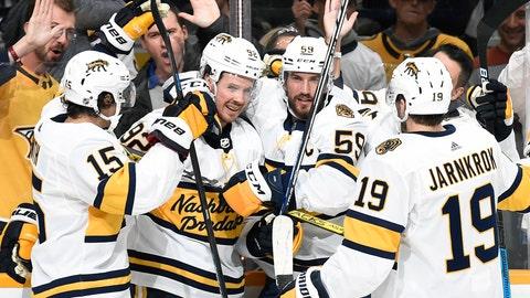<p>               Nashville Predators center Ryan Johansen (92) is congratulated by teammates after scoring against the Buffalo Sabres during the second period of an NHL hockey game Saturday, Jan. 18, 2020, in Nashville, Tenn. (AP Photo/Mark Zaleski)             </p>