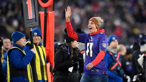 <p>               Washington Mystics' Elena Delle Donne, the WNBA league most valuable player, gestures while being honored on the field during the first half of an NFL football game between the Baltimore Ravens and the New York Jets, Thursday, Dec. 12, 2019, in Baltimore. (AP Photo/Nick Wass)             </p>
