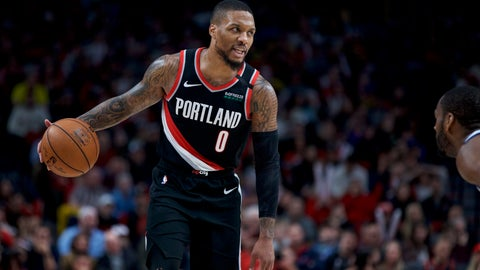 <p>               Portland Trail Blazers guard Damian Lillard brings the ball up the court against the Golden State Warriors during the second half of an NBA basketball game in Portland, Ore., Monday, Jan. 20, 2020. The Trail Blazers won 129-124 in overtime. (AP Photo/Craig Mitchelldyer)             </p>