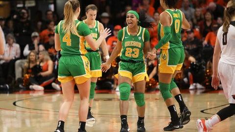 <p>               Oregon's Minyon Moore (23) celebrates with Jaz Shelley (4), Sabrina Ionescu (20) and Satou Sabally (0) following Oregon's victory over Oregon State in an NCAA college basketball game in Corvallis, Ore., Sunday, Jan. 26, 2020. (AP Photo/Amanda Loman)             </p>