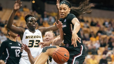 <p>               South Carolina's Victaria Saxton, right, fights off Missouri's Jordan Chavis, center, and Aijha Blackwell, left, for a rebound during the first half of an NCAA college basketball game Thursday, Jan. 16, 2020, in Columbia, Mo. (AP Photo/L.G. Patterson)             </p>