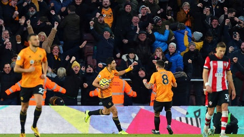 <p>               Wolverhampton Wanderers' Raul Jimenez celebrates after scoring his sides second goal from the penalty spot during the English Premier League soccer match between Southampton and Wolverhampton Wanderers at the St Mary's stadium, Southampton, England. Saturday, Jan. 18, 2020. (Mark Kerton/PA via AP)             </p>