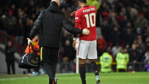 <p>               Manchester United's substitute player Marcus Rashford walks off the pitch with an injury during the English FA Cup third round replay soccer match between Manchester United and Wolverhampton Wanderers at Old Trafford in Manchester, England, Wednesday, Jan. 15, 2020. (AP Photo/Rui Vieira)             </p>