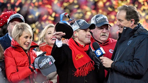 <p>               Norma Hunt, left, and her son Clark Hunt, center, owners of the Kansas City Chiefs, and Kansas City Chiefs head coach Andy Reid, second right, celebrate after the NFL AFC Championship football game against the Tennessee Titans Sunday, Jan. 19, 2020, in Kansas City, MO. The Chiefs won 35-24 to advance to Super Bowl 54. (AP Photo/Jeff Roberson)             </p>