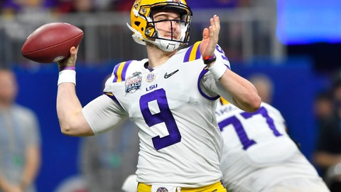 <p>               FILE - In this Dec. 28, 2019, file photo, LSU quarterback Joe Burrow (9) works against Oklahoma during the first half of the Peach Bowl NCAA semifinal college football playoff game, in Atlanta. LSU's Joe Burrow and Justin Jefferson were easy selections for The Associated Press all-bowl team. The two connected for four first-half touchdowns in a College Football Playoff semifinal blowout of Oklahoma.  (AP Photo/John Amis, File)             </p>