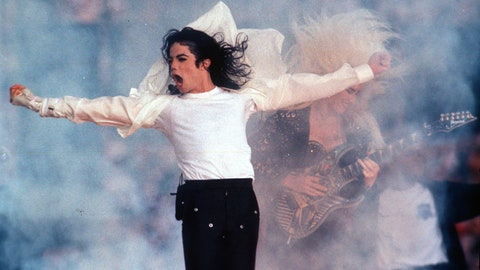 <p>               FILE - This Feb. 1, 1993 file photo shows Pop superstar Michael Jackson performing during the halftime show at the Super Bowl in Pasadena, Calif. Regardless of your musical tastes, it seems the Super Bowl halftime show has gone there. From the sublime (Tony Bennett) to the ridiculous ( Janet Jackson's ``uncovering''), and from Michael Jackson's moonwalks to U2's majestic remembrance of the 911 victims, the halftime presentations have drawn nearly as much attention as the NFL championship game itself. (AP Photo/Rusty Kennedy, File)             </p>