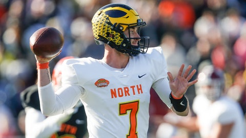<p>               North quarterback Shea Patterson of Michigan (7) throws a pass during the first half of the Senior Bowl college football game Saturday, Jan. 25, 2020, in Mobile, Ala. (AP Photo/Butch Dill)             </p>