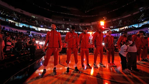 <p>               CORRECTS SPELLING TO CARLEY, INSTEAD OF CARLY - The New Orleans Pelicans pause during a moment of silence for Carley McCord, a sports journalist who was the in-game host for the Pelicans and who died in a plane crash Saturday, before the team's NBA basketball game against the Indiana Pacers in New Orleans, Saturday, Dec. 28, 2019. McCord, the daughter-in-law of LSU football offensive coordinator Steve Ensminger, had just departed Lafayette, La., en route to the Peach Bowl in Atlanta, where LSU was playing Oklahoma, when the plane crashed, killing five people. (AP Photo/Gerald Herbert)             </p>