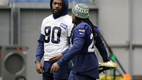 <p>               Seattle Seahawks running back Marshawn Lynch, right, stretches as he talks with defensive end Jadeveon Clowney, left, before NFL football practice, Friday, Dec. 27, 2019, in Renton, Wash. (AP Photo/Ted S. Warren)             </p>