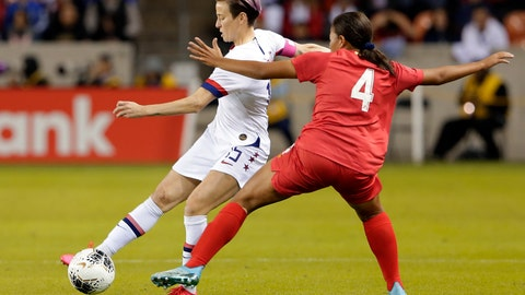 <p>               U.S. forward Megan Rapinoe (15) moves the ball under pressure from Panama defender Hilary Jaen (4) during the first half of a CONCACAF women's Olympic qualifying soccer match Friday, Jan. 31, 2020, in Houston. (AP Photo/Michael Wyke)             </p>