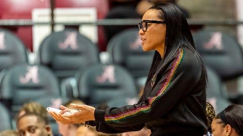 <p>               South Carolina head coach Dawn Staley argues a call during the first half of an NCAA college basketball game against Alabama, Sunday, Jan. 5, 2020, in Tuscaloosa, Ala. (AP Photo/Vasha Hunt)             </p>