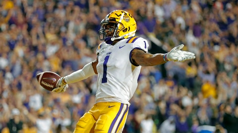 <p>               FILE - In this Nov. 30, 2019, file photo, LSU wide receiver Ja'Marr Chase (1) celebrates his touchdown reception during the first half of the team's NCAA college football game against Texas A&M, in Baton Rouge, La. Chase was selected to The Associated Press All-America team, Monday, Dec. 16, 2019.  (AP Photo/Gerald Herbert, File)             </p>