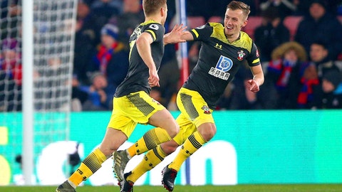 <p>               Southampton's Stuart Armstrong, left, celebrates scoring his side's second goal of the game against Crystal Palace, with team mate James Ward-Prowse, during their English Premier League soccer match at Selhurst Park in London, Tuesday Jan. 21, 2020. (Nigel French/PA via AP)             </p>