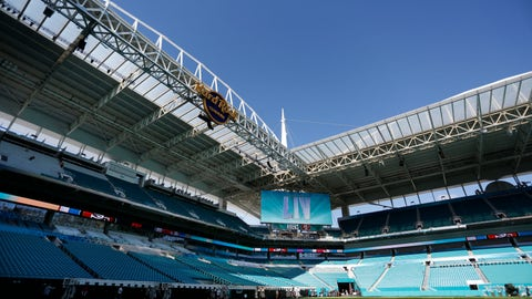 <p>               Preparations are underway during a tour of the Hard Rock Stadium on Tuesday, Jan. 21, 2020, ahead of the NFL Super Bowl LIV football game in Miami Gardens, Fla. (AP Photo/Brynn Anderson)             </p>